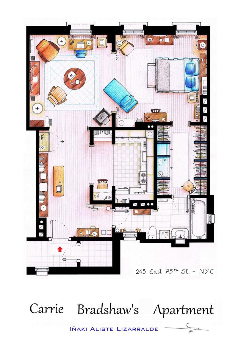 10 Floor Plans Of Popular Tv Show Apartments Mizhollywood