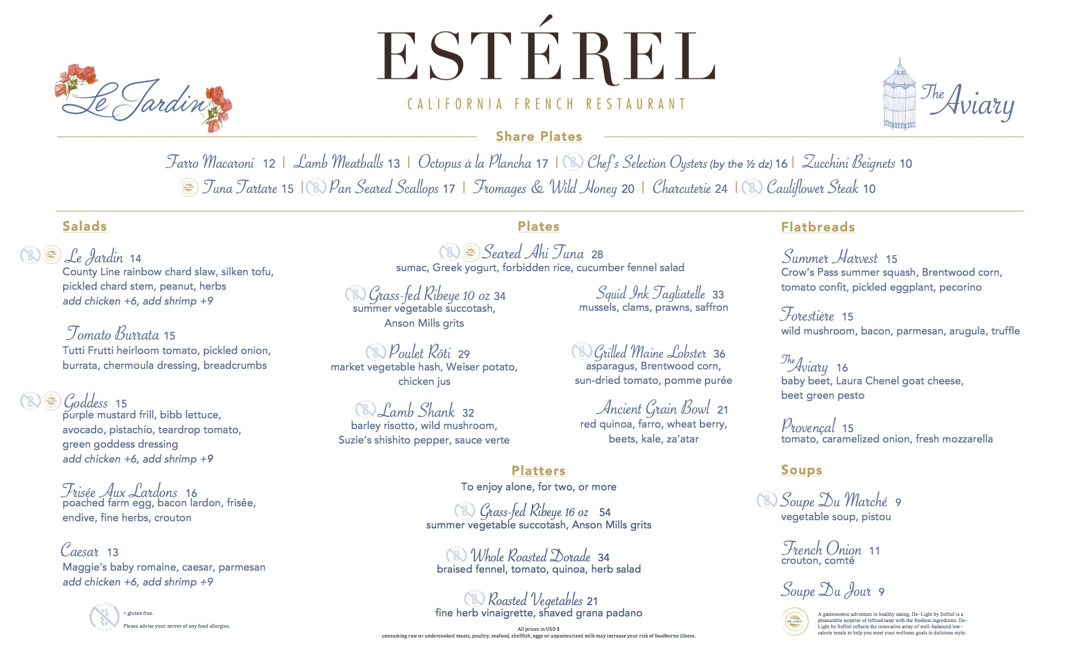 Esterel Final Dinner Menu