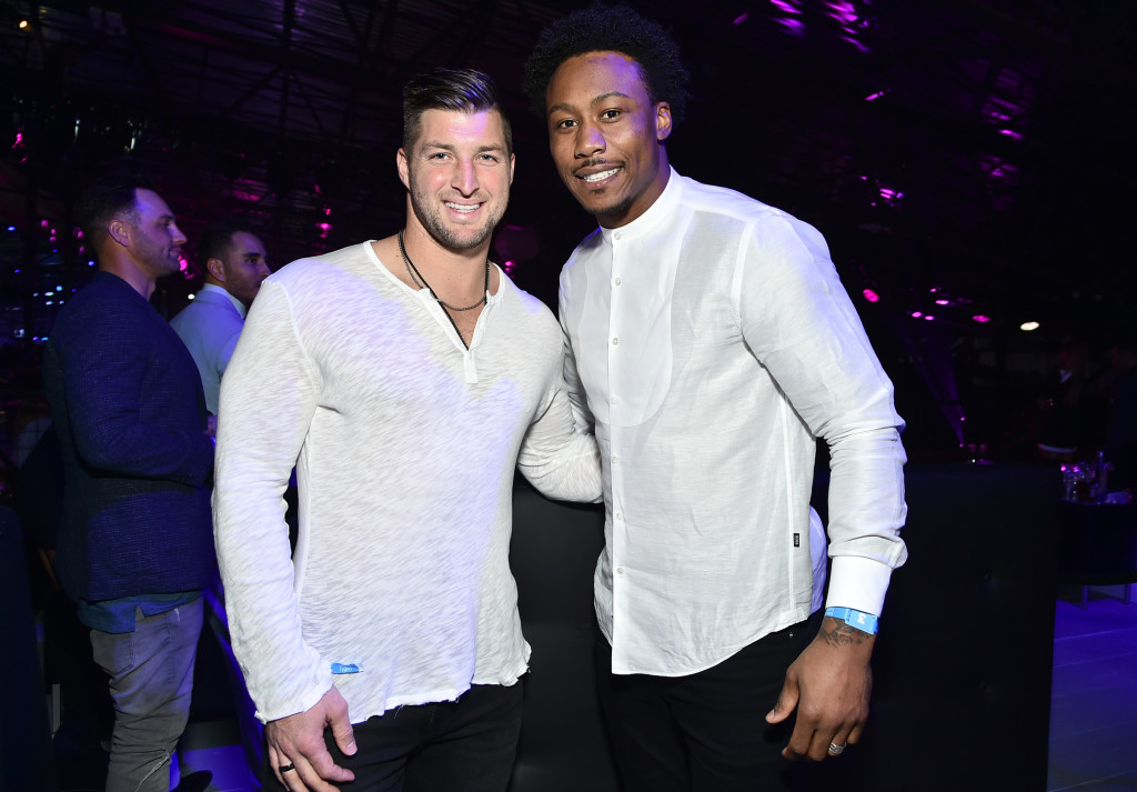 HOUSTON, TX - FEBRUARY 04: Baseball player/former NFL player Tim Tebow (L) and NFL player Brandon Marshall attend the 2017 DIRECTV NOW Super Saturday Night Concert at Club Nomadic on February 4, 2017 in Houston, Texas. (Photo by Mike Coppola/Getty Images for DIRECTV)